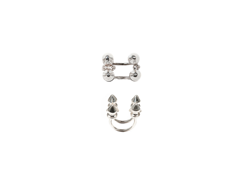 Four studs silver ring