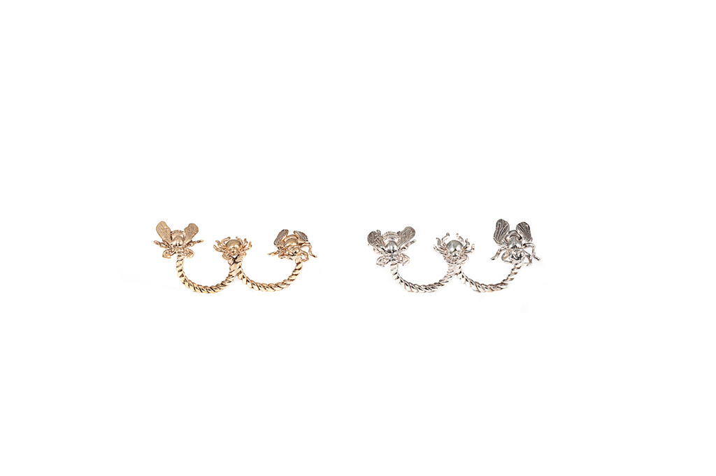 Double finger ring with bee, spider and fly bronze / silver