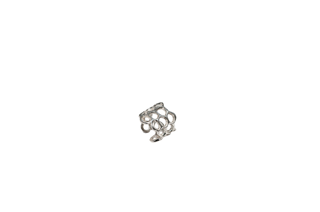 Silver honey comb ring