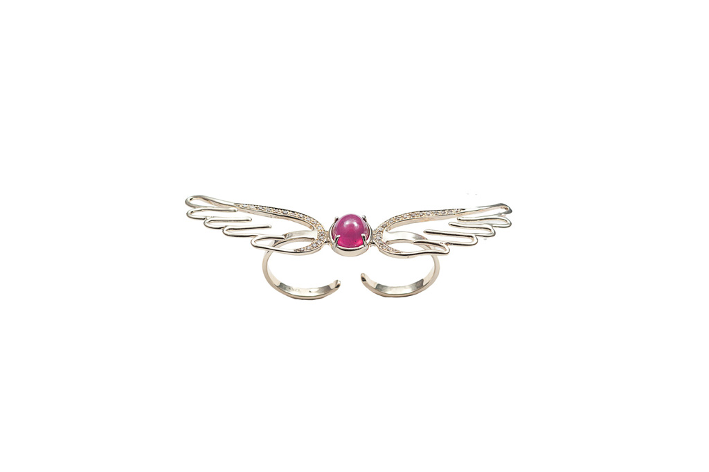 Gold double finger wings ring with ruby and cognac diamonds