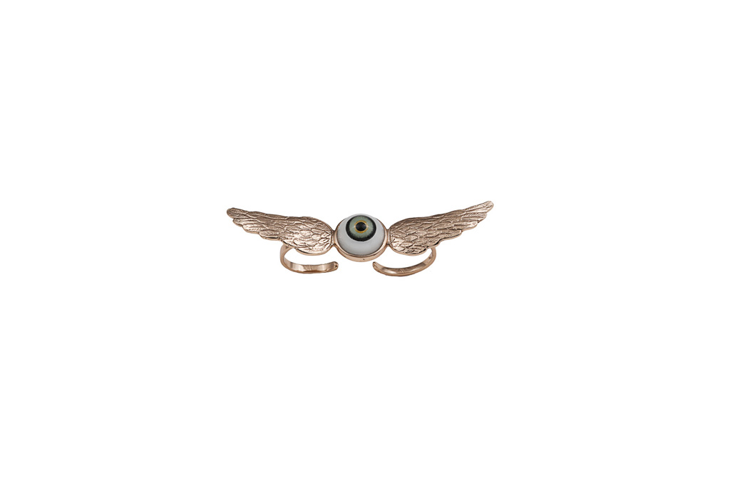 Bronze 2 fingers wings ring with eye