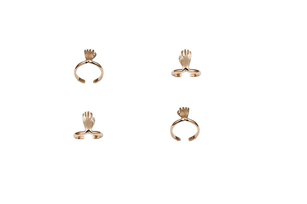 Bronze midi ring with hand – dx/small / Bronze midi ring with hand – sx/large
