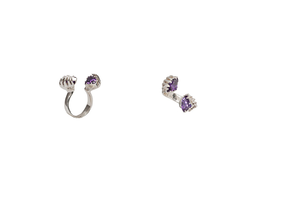 Cupped hans silver ring with violet cubic zirconia