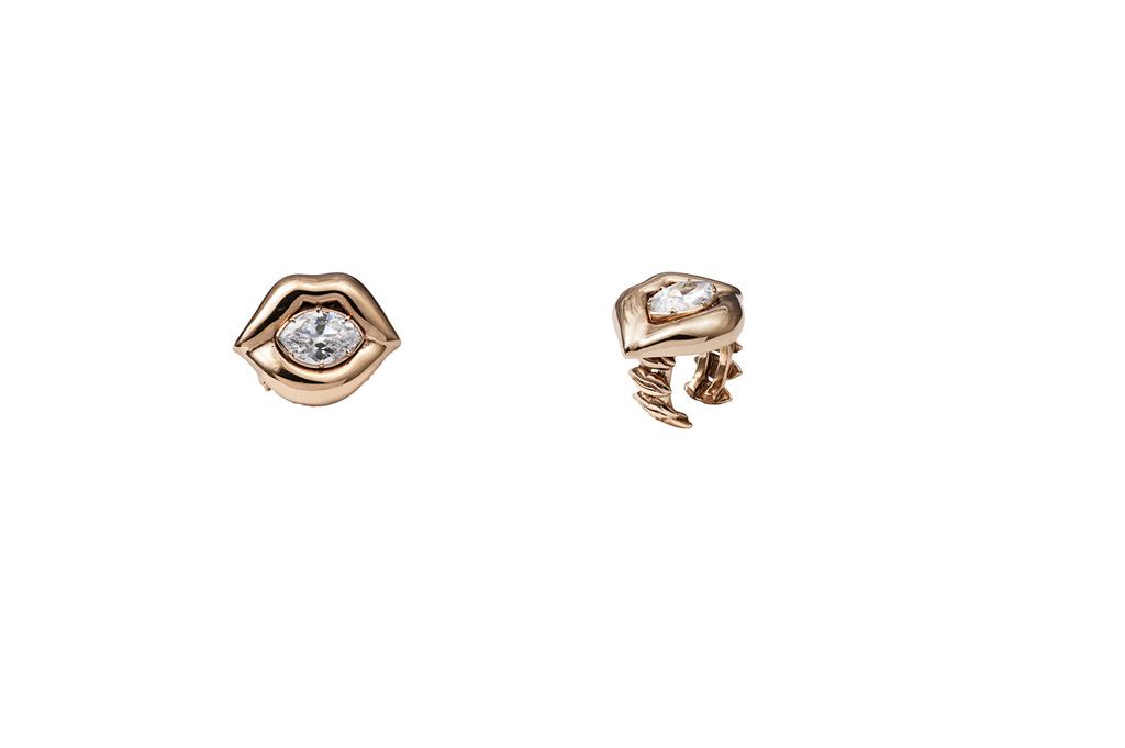 Bronze lips ring with white cubic zirconia