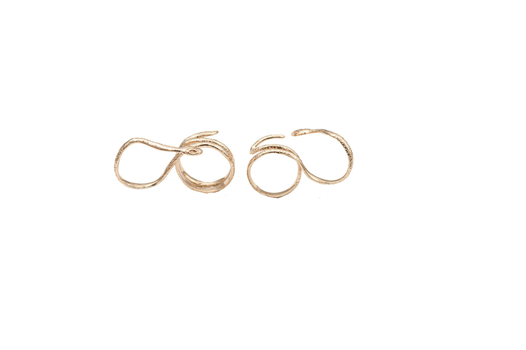 Bronze 2 fingers ring with snake 2 laps / Bronze 2 fingers ring with snake 3 laps