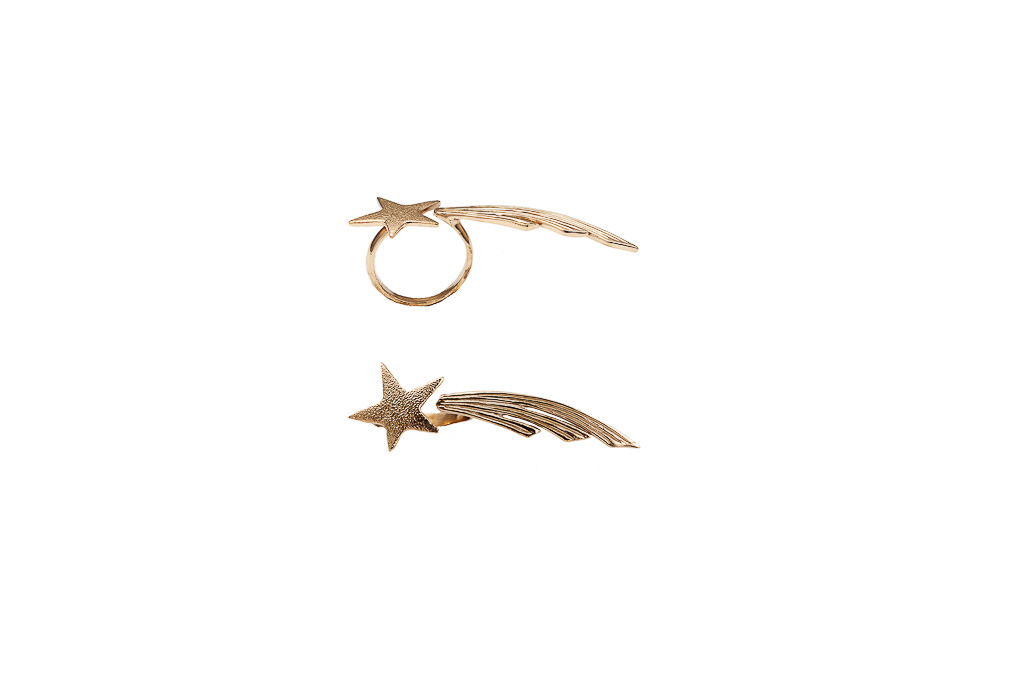 Bronze shooting star ring / Silver shooting star ring