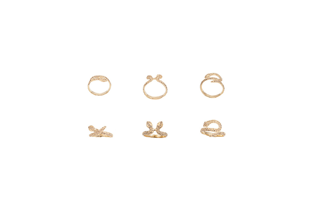 Gold snakes ring with cognac diamonds – style 1- style 2 – style 3