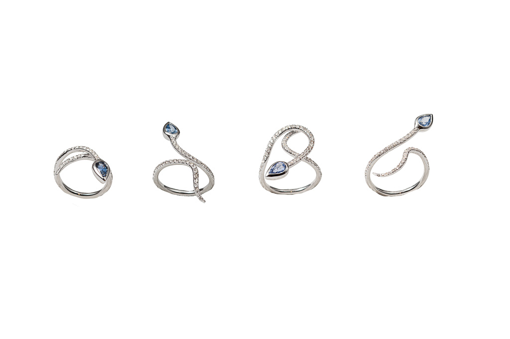 White gold snakes ring with diamonds and sapphire- style 1 /style 2 / style 3 / style 4
