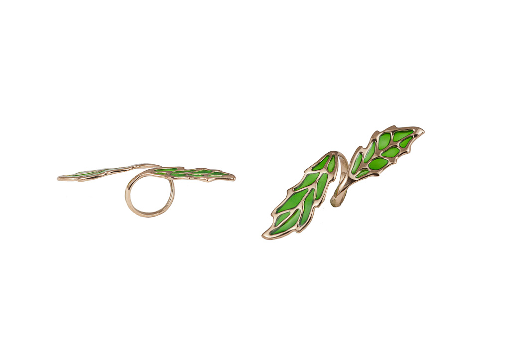 Bronze long openwork leaf ring with enamel