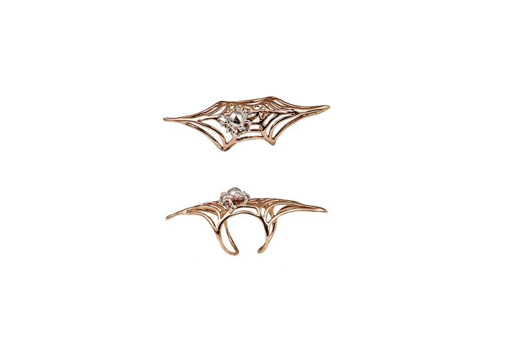 Bronze long web ring with silver spider