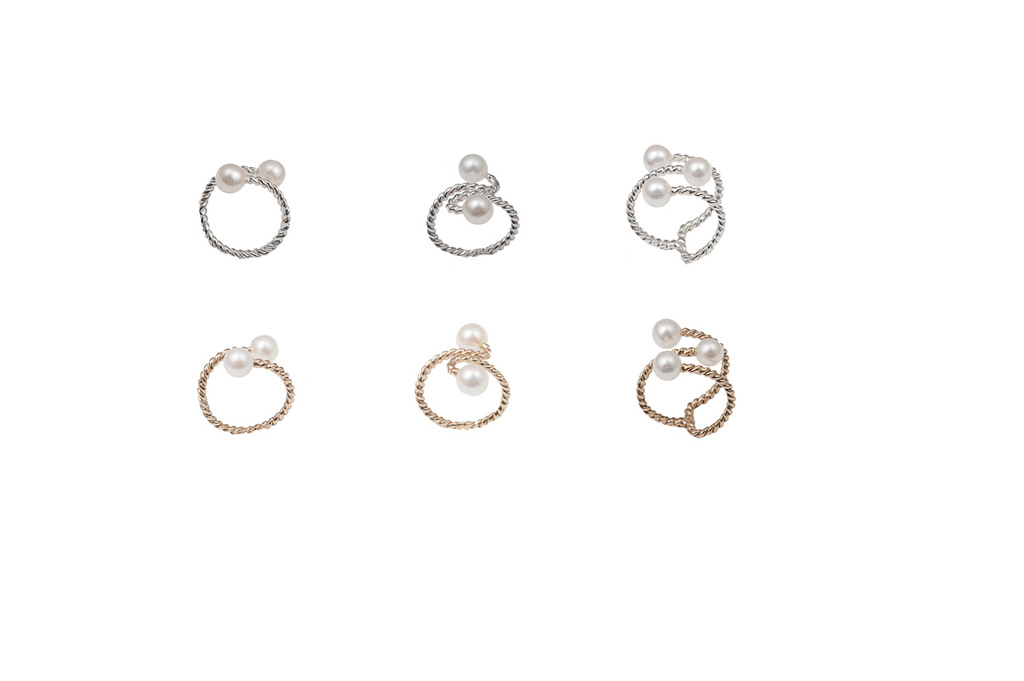 Set of 3 bronze midi rings with pearls / Set of 3 silver midi rings with pearls