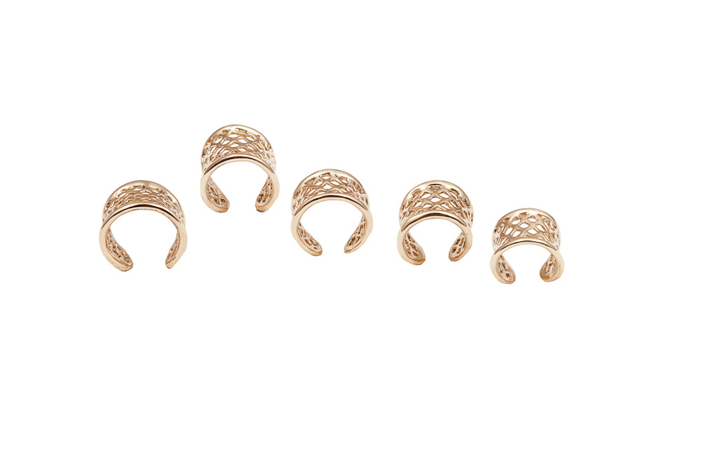 Set of 5 bronze cage rings