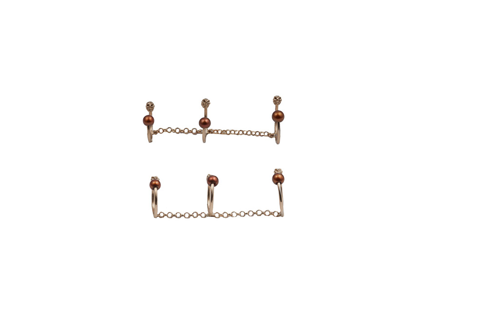 Bronze triple band ring with skulls and chocolate pearls