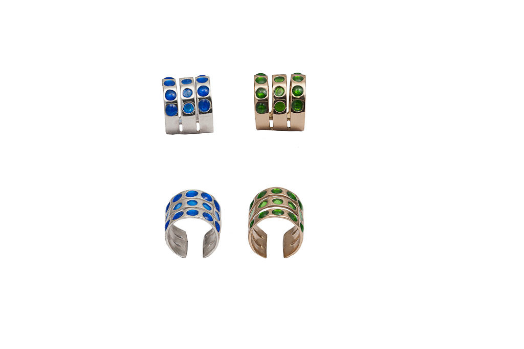 Bronze triple band ring with green enamel round spots / Silver triple band ring with blue enamel round spots