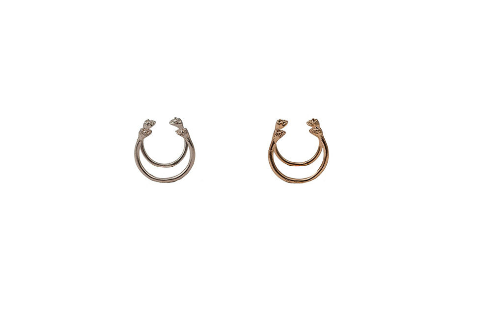 Set of 2 bronze open rings with 2 skulls / Set of 2 silver open rings with 2 skulls