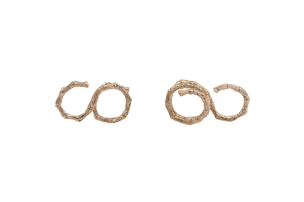 Bronze 2 fingers bamboo ring – 2 laps / Bronze 2 fingers bamboo ring -3 laps