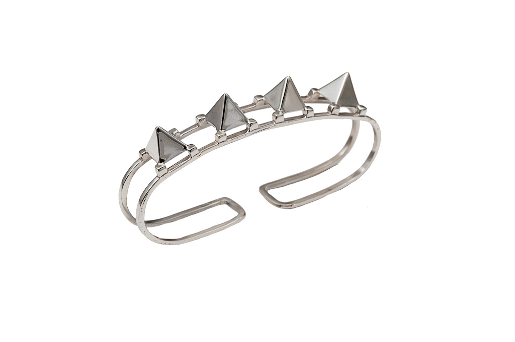 Silver hand bracelet with studs