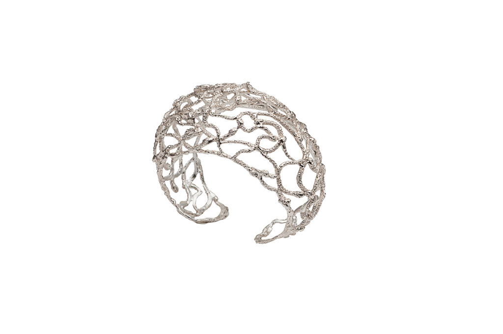 Silver snakes dome cuff bracelet