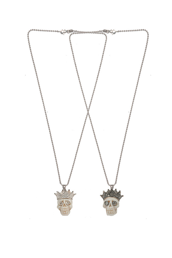 Gold necklace with coral skull, pavé crown, diamonds eyes / Gold necklace with coral skull, black pavé crown, grey diamonds eyes