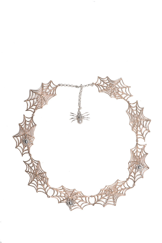 8 webs bronze necklace with 3 silver spiders