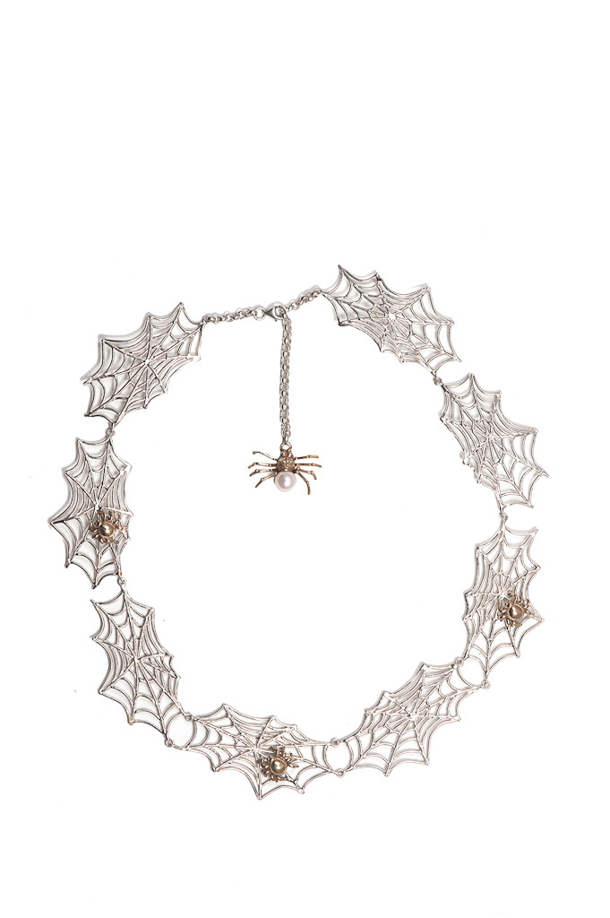(8 webs silver necklace with 3 bronze spiders