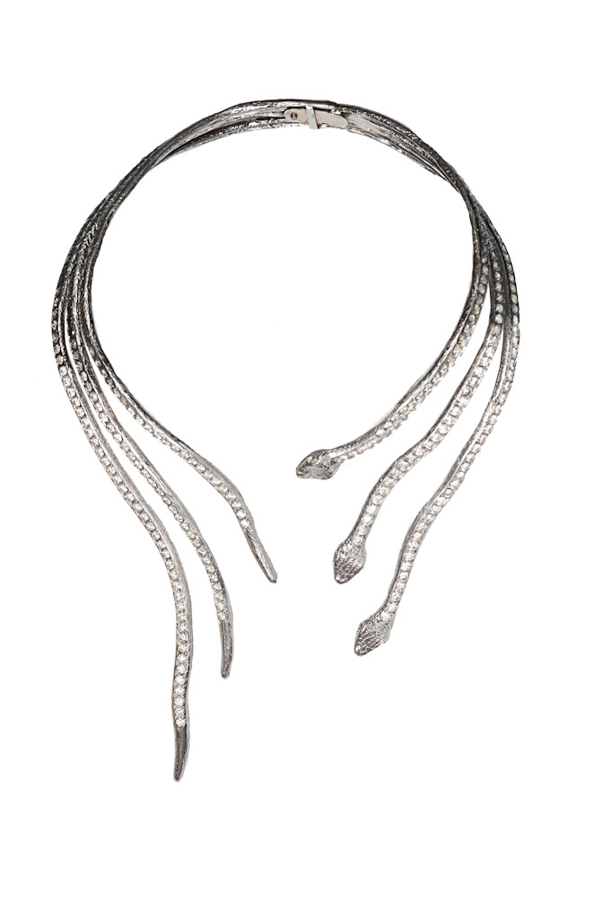 3 snakes stiff necklace with diamonds