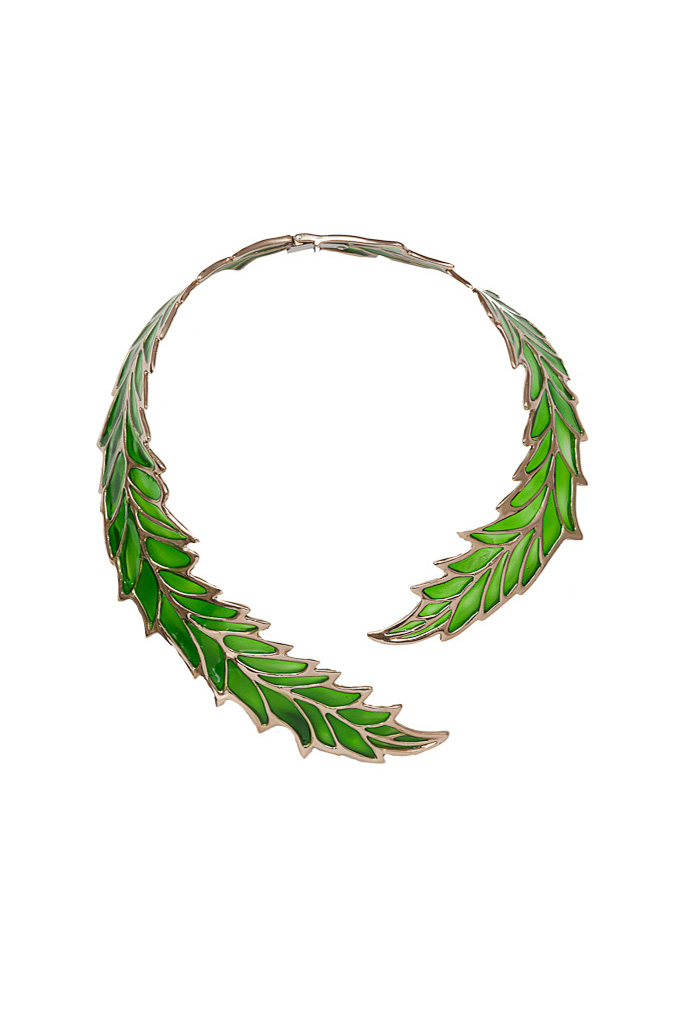 Brass open work big leaf necklace with enamel