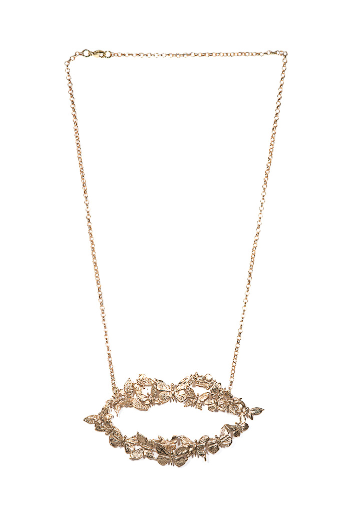 Bronze mouth necklace with butterflies