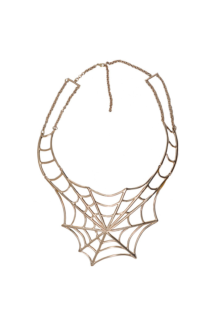 Brass giant web necklace