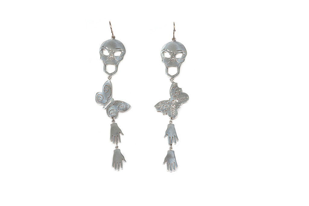 Skull silver earrings with butterflies and hands
