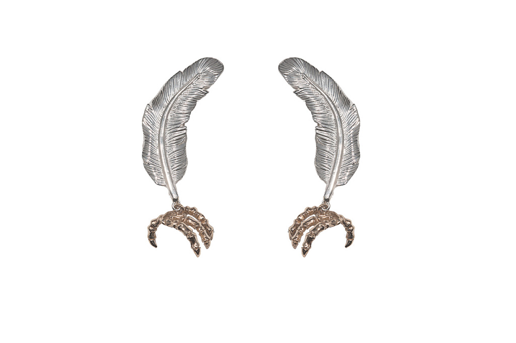 little silver feather with bronze claw earrings