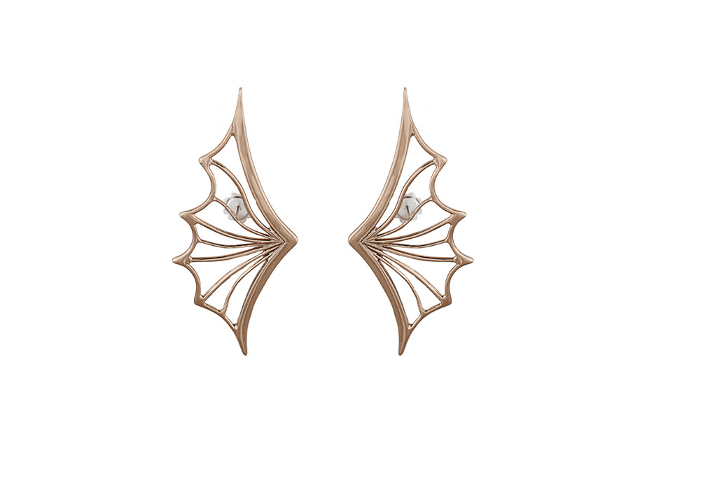Bronze openwork bat wing earrings