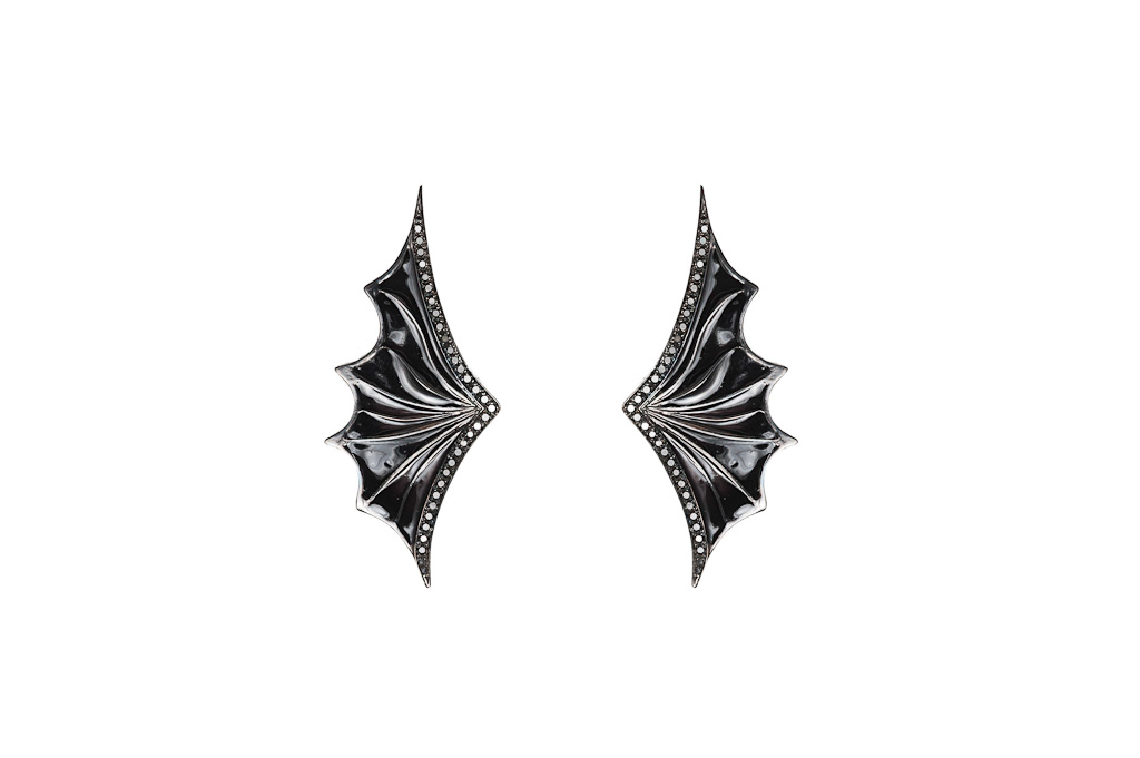 Gold openwork bat wing earrings with black diamonds