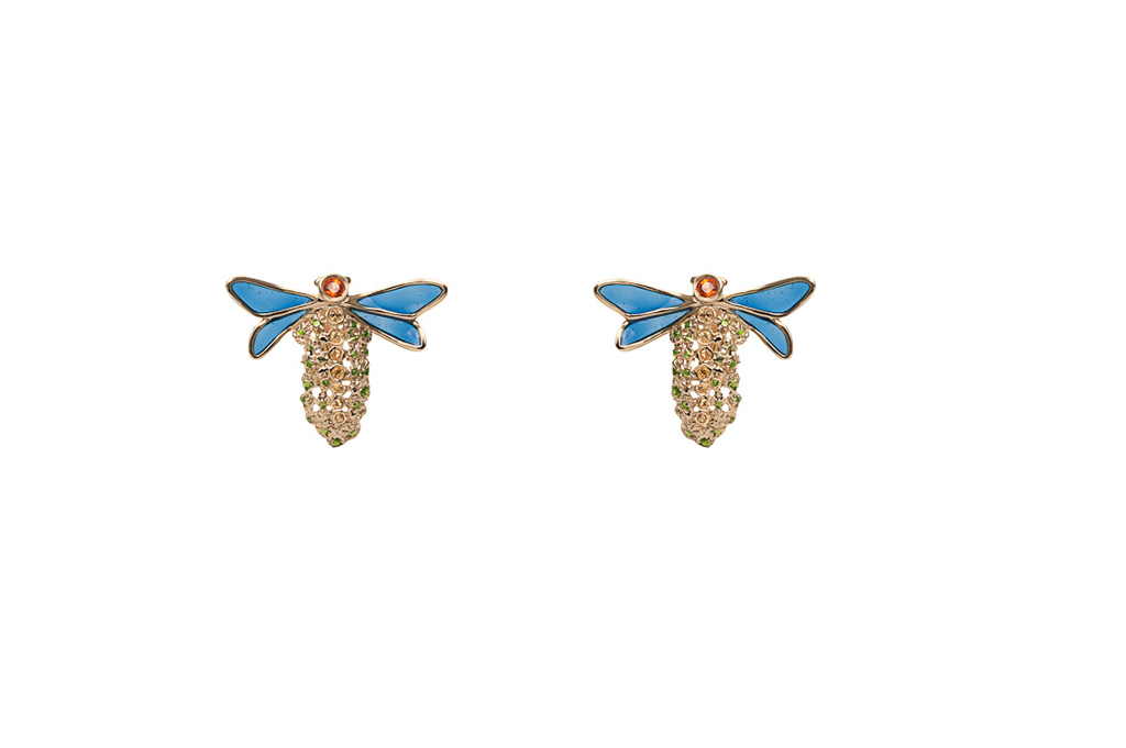 Dragonfly gold earrings with sapphires