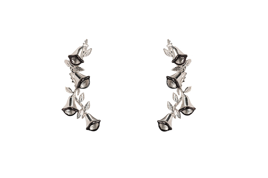 Campanula with mouth silver earrings