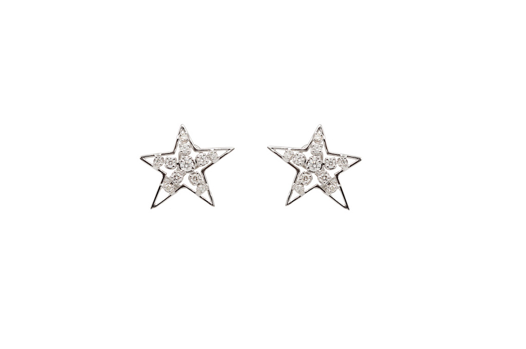 White star gold and diamonds earrings