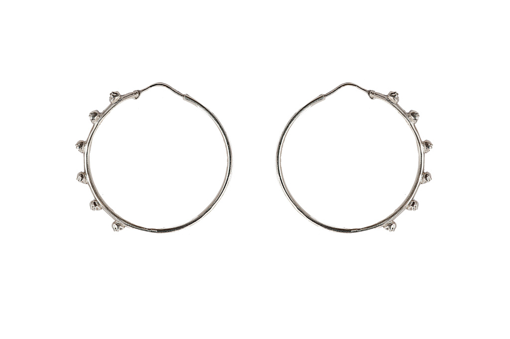 Silver hoop earrings with skulls