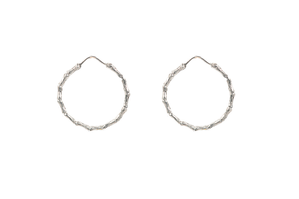 Silver bamboo large hoop earrings