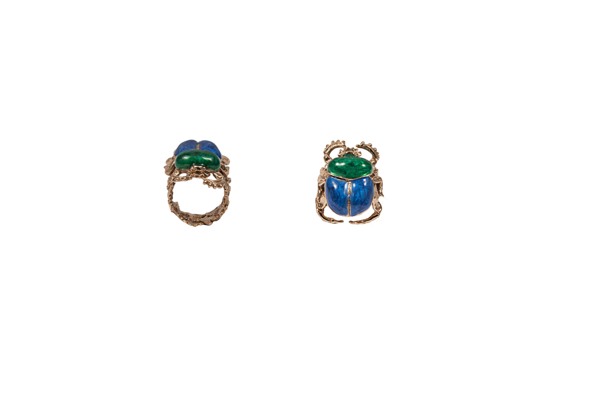 Bronze scarab ring with enamel