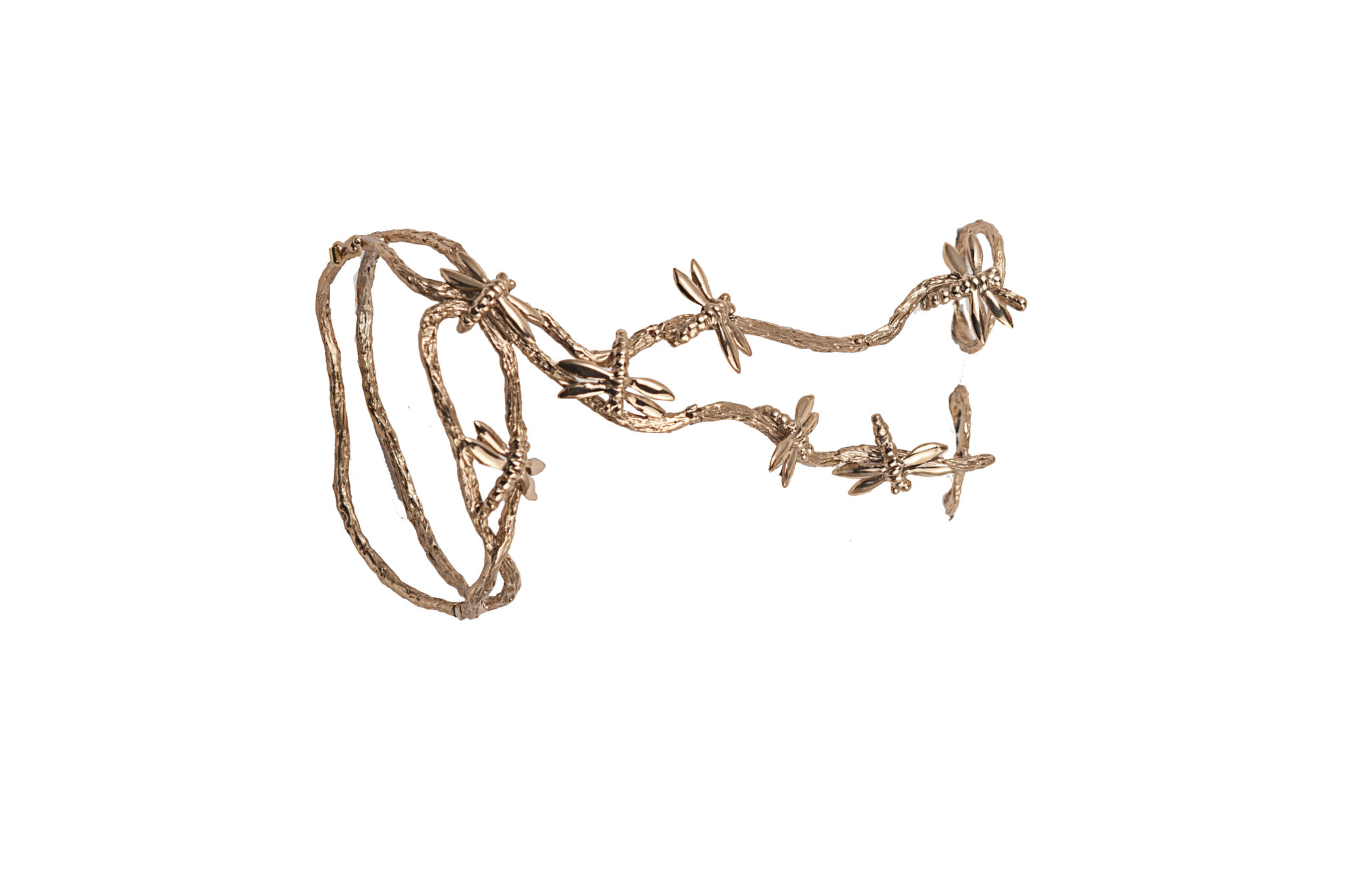 Bronze long hand bracelet with dragonflies