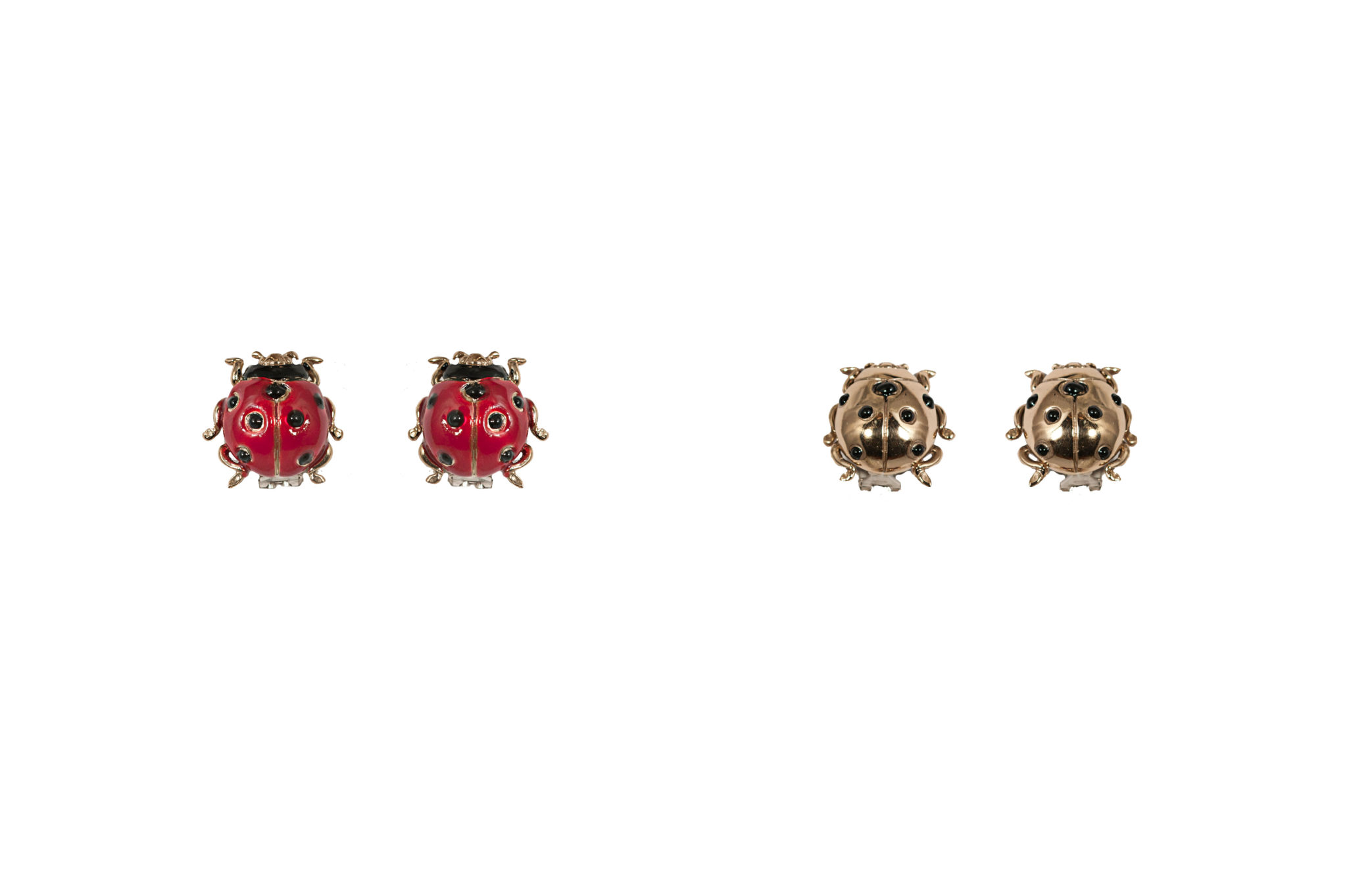 Ladybird bronze earrings with enamel