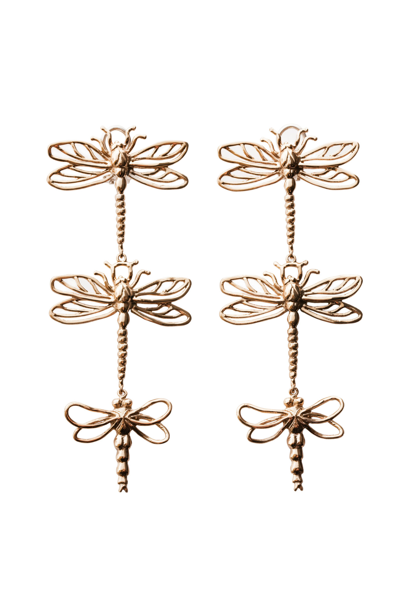 3 big dragonflies bronze earrings