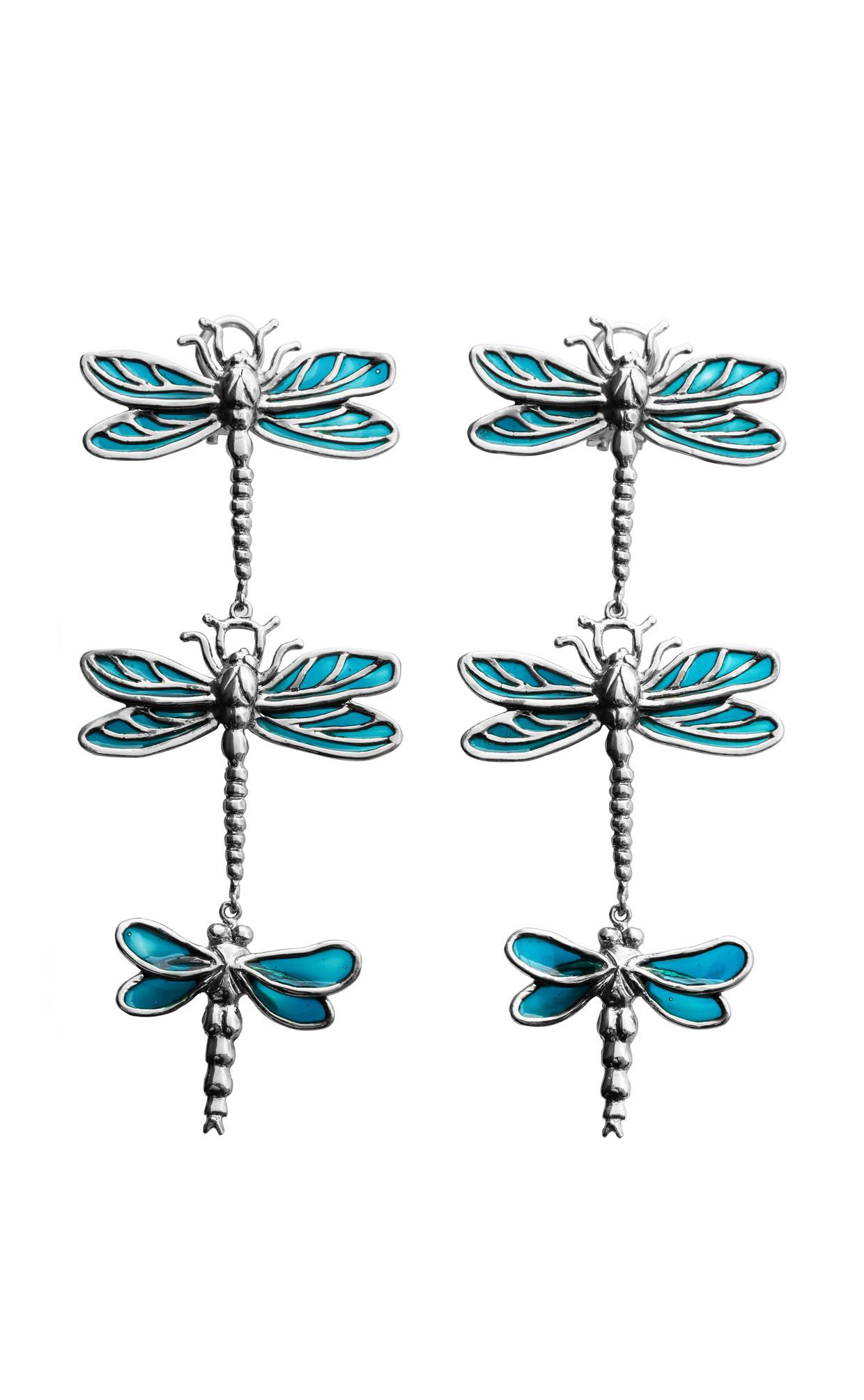 3 big dragonflies silver earrings with light blue enamel