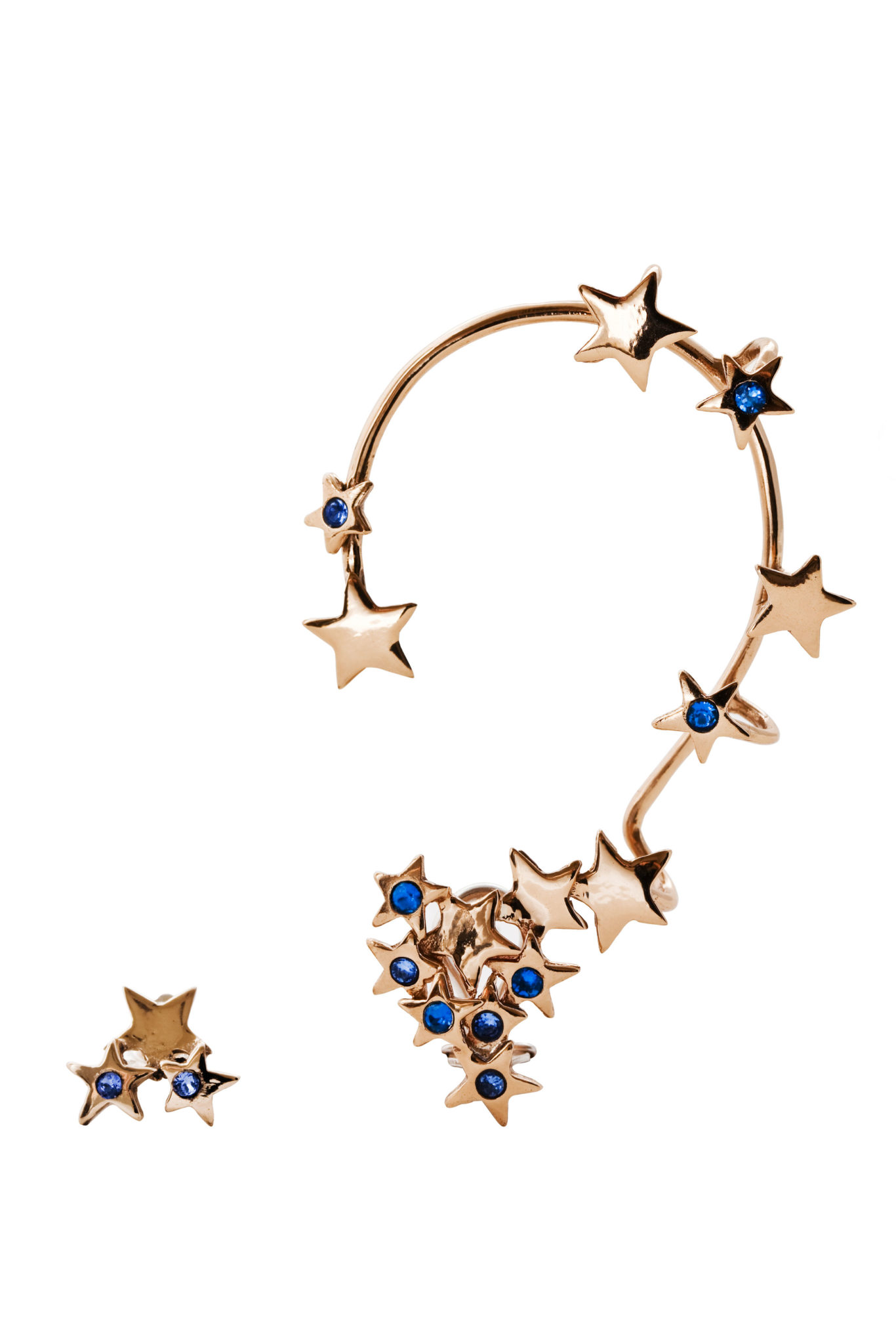 Multi stars earcuff with blue Swarovsky crystals