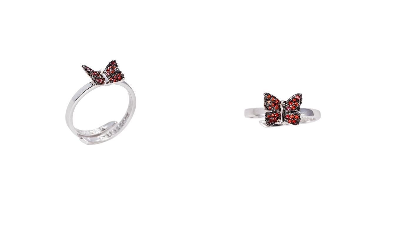 Mini buttefly gold band ring with pavé red sapphires