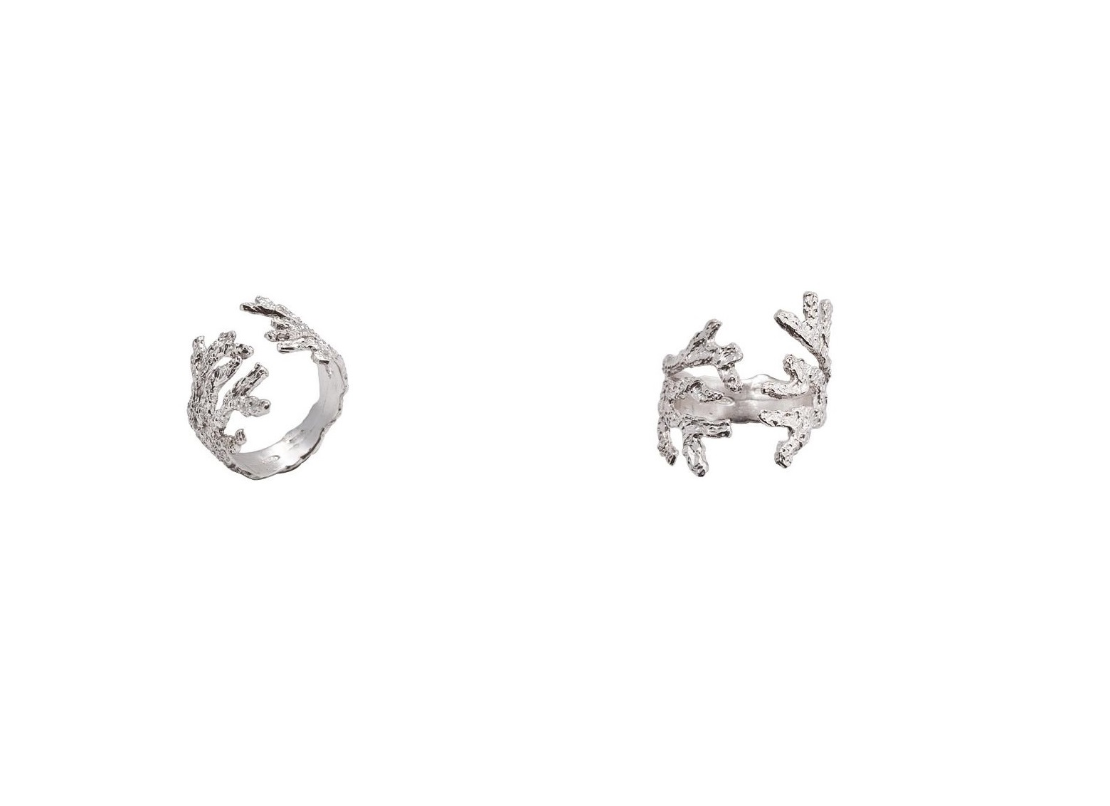 Silver coral shaped open ring