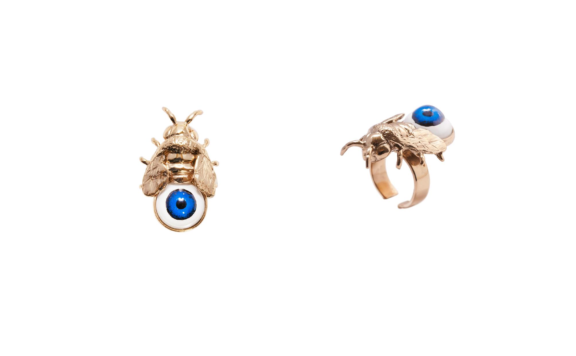 Bronze bee ring with blue eye