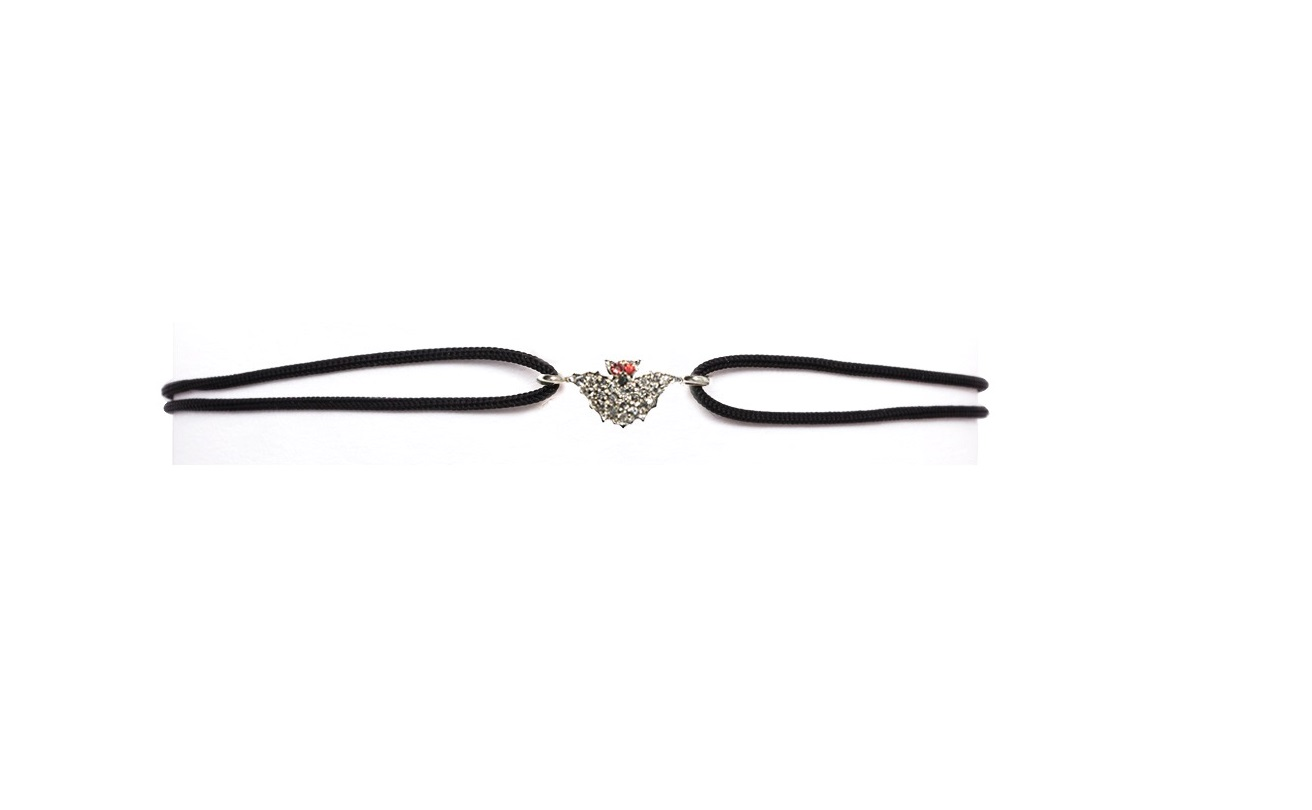 bracelets with mini bat pavé grey diamonds and red sapphires