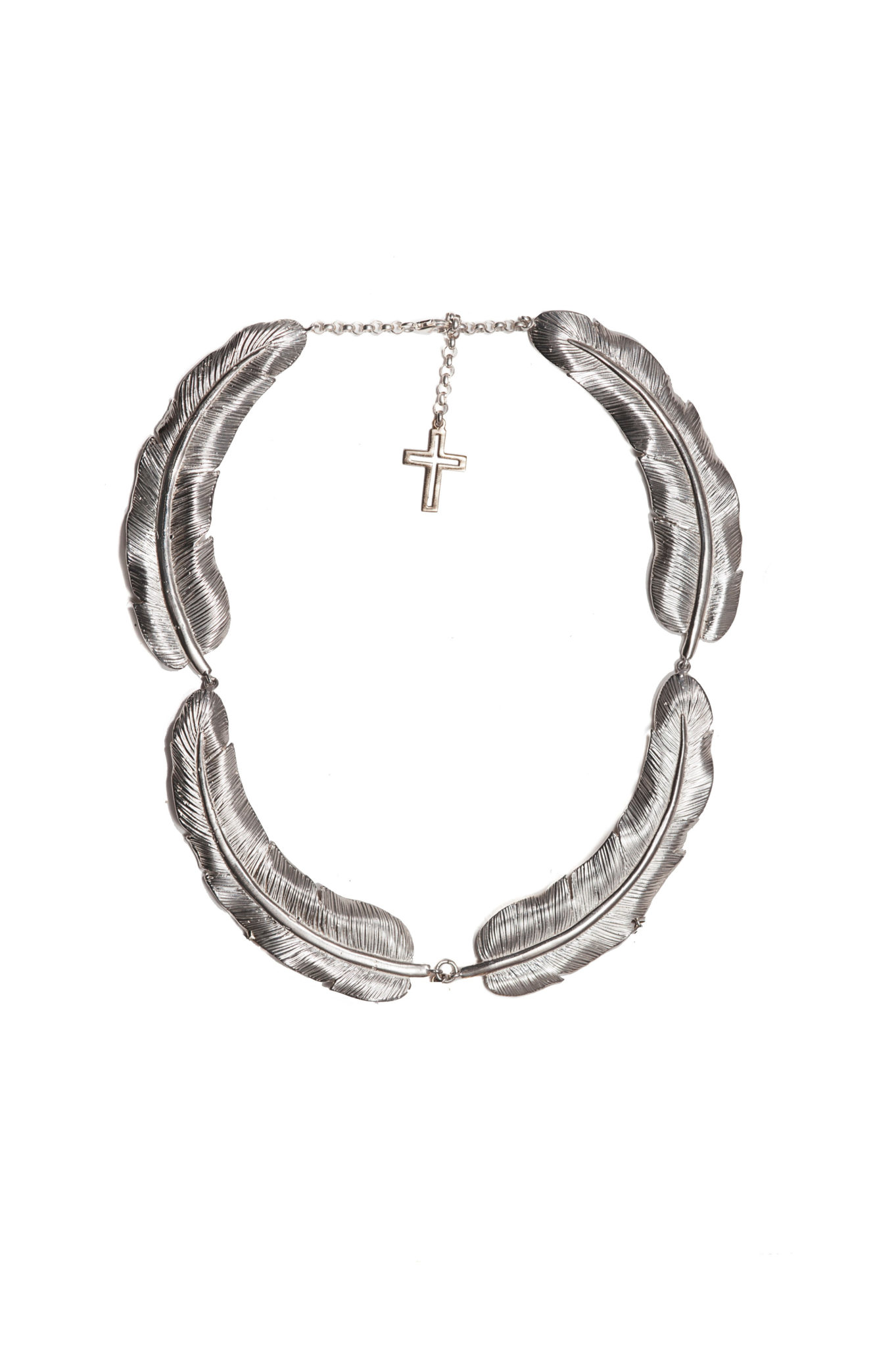 Big feathers silver necklaces