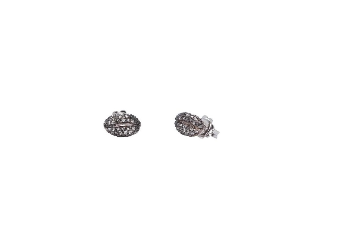 Mini lips gold earring with pavé grey diamonds